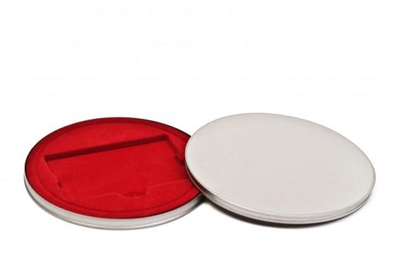 Caja metal redanda para cartones roja