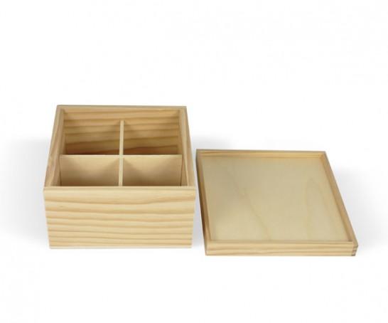 Caja de madera con 4 divisiones