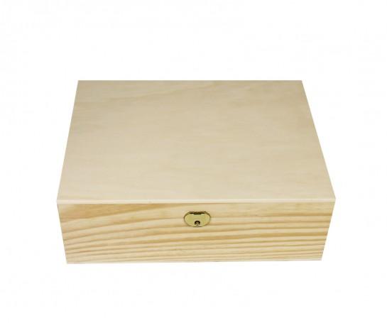 Caja de madera con dos bandejas