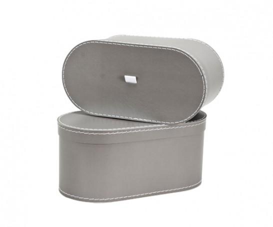 Caja oval gris