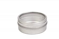 Lata de metal redonda para dulces con ventana en la tapa