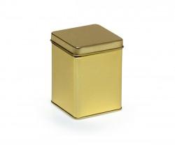 Lata de metal dorada