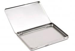 Embalaje de metal para DVD, tapa con bisagra.