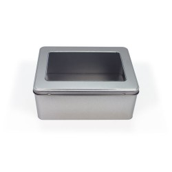 Embalaje de metal con ventana en la tapa