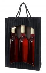 Bolsa negra para tres botellas