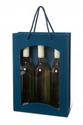 Bolsa azul para tres botellas