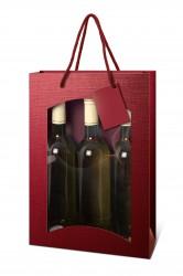Bolsa burdeos para tres botellas