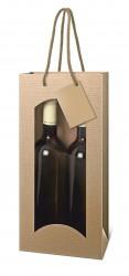Bolsa en el color natural para dos botellas