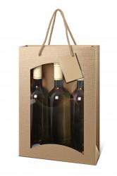 Bolsa en el color natural para tres botellas