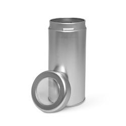 Lata de metal con ventana en la tapa