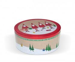 Caja redonda con detalles navideños