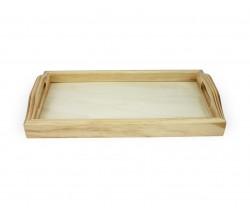 Tablero de madera con vidrio | Bandeja de madera con vidrio